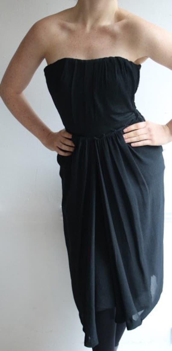 Vintage 1950's dress 1950's black dress 1950's wi… - image 8