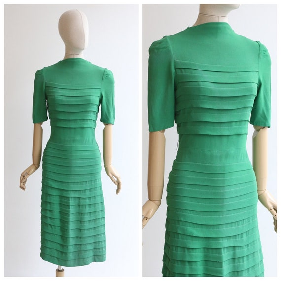 Vintage 1940's dress original 1940's green dress 1