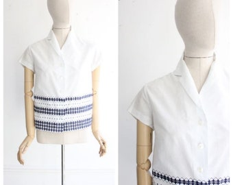 Vintage 1950's Blouse 1950's cotton blouse 1950's White blouse navy embroidery forties blouse 50's white summer shirt original blouse UK 12