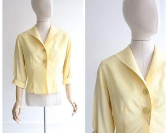 Vintage 1940's Blouse 1940's silk blouse 1940's yellow blouse forties silk blouse 40's yellow silk shirt original ww2 1940's blouse UK 12