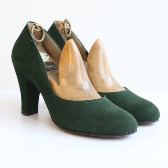 Vintage 1940's shoes vintage 1940's green suede sh
