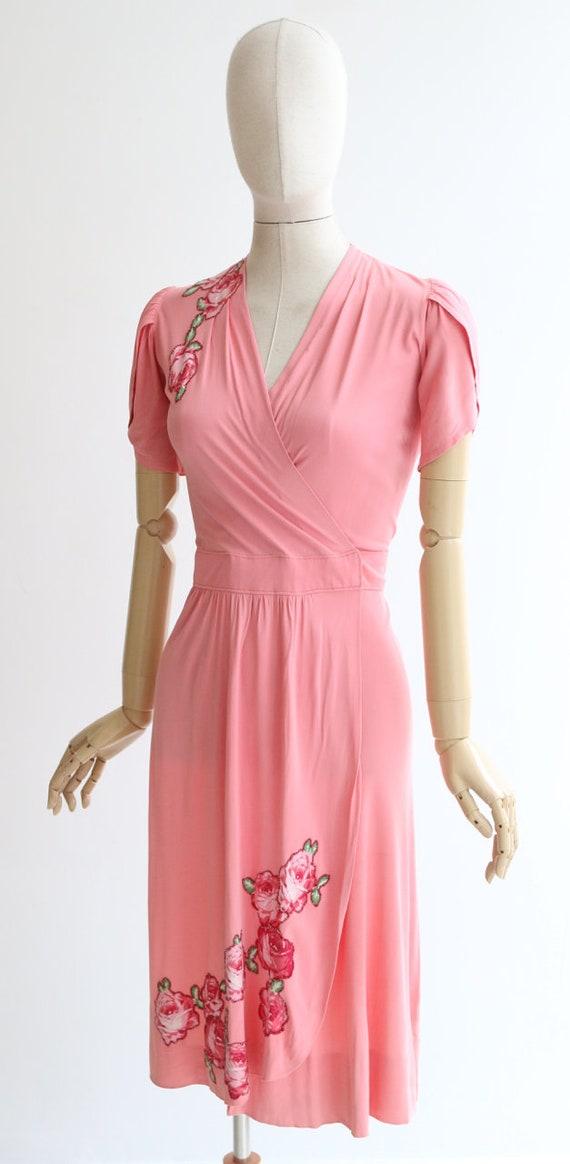 Vintage 1940's dress vintage 1940's pink silk jer… - image 8