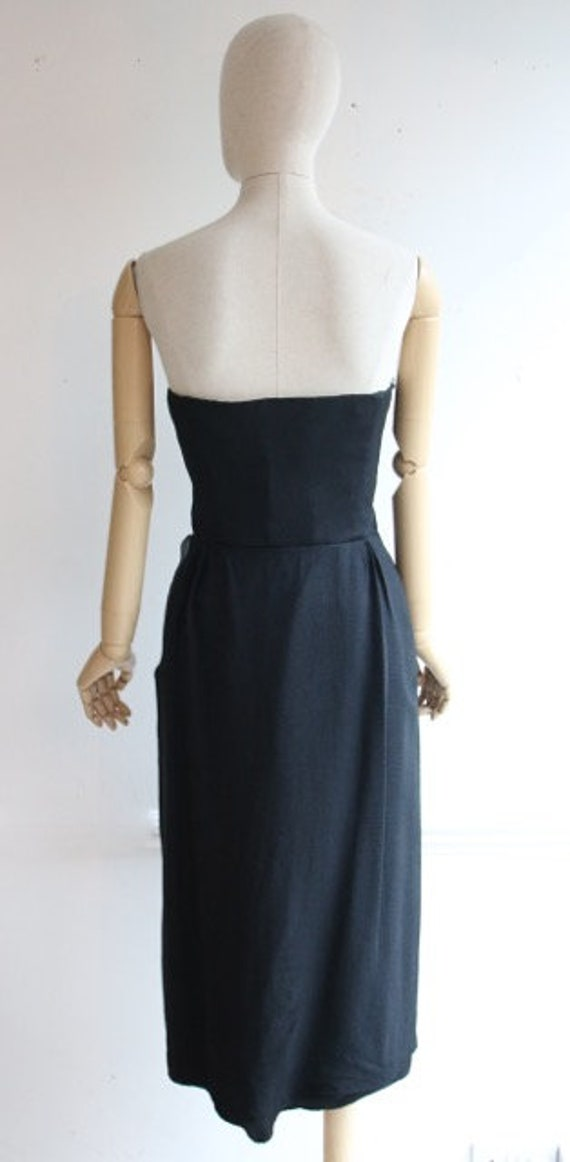 Vintage 1950's dress 1950's black dress 1950's wi… - image 7