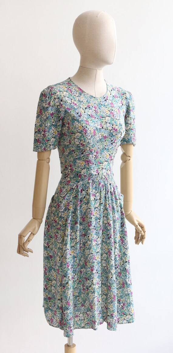 Vintage 1940's dress original 1940's silk dress 1… - image 5