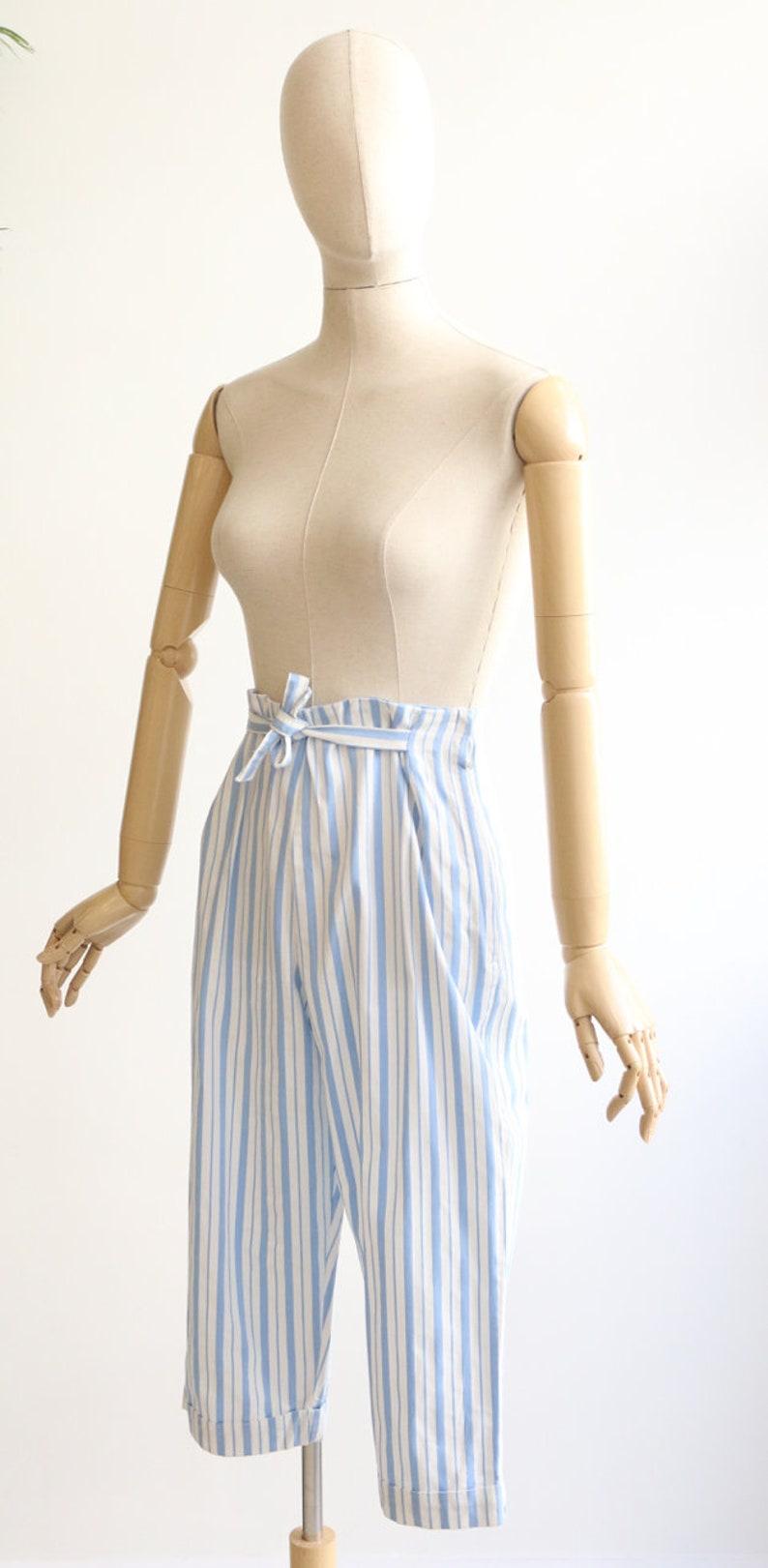 Vintage 1950/'s Capri pants vintage 1950/'s high waisted capris 1950/'s pinstripe pedal pushers 1950/'s fashion original 1950s cotton capri UK 8