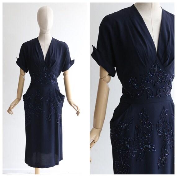 Vintage 1940's dress vintage 1940's navy blue bead
