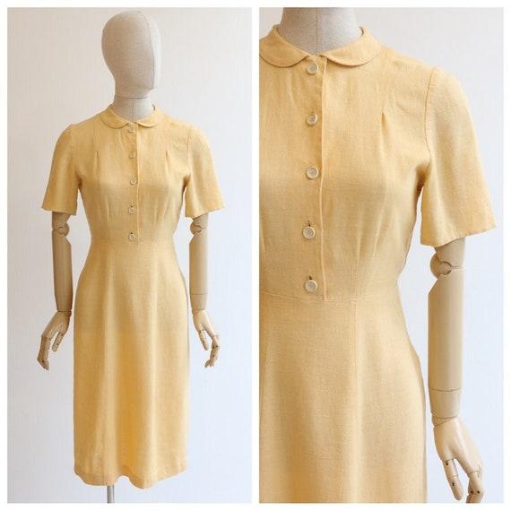 vintag 1940's dress vintage 1940's yellow linen dr