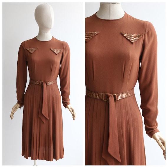 Vintage 1940's dress vintage 1940's cinnamon dress