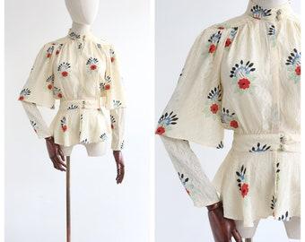 Vintage 1970's Ossie Clark Vintage 1970 Ossie Clark and Celia Birtwell silk floral blouse original seventies Celia birtwell blouse UK 8 US 4