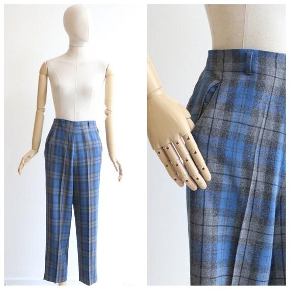 Vintage 1950's Plaid trousers vintage 1950's blue