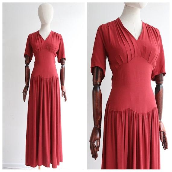 Vintage 1940's dress vintage 1940's red crepe even