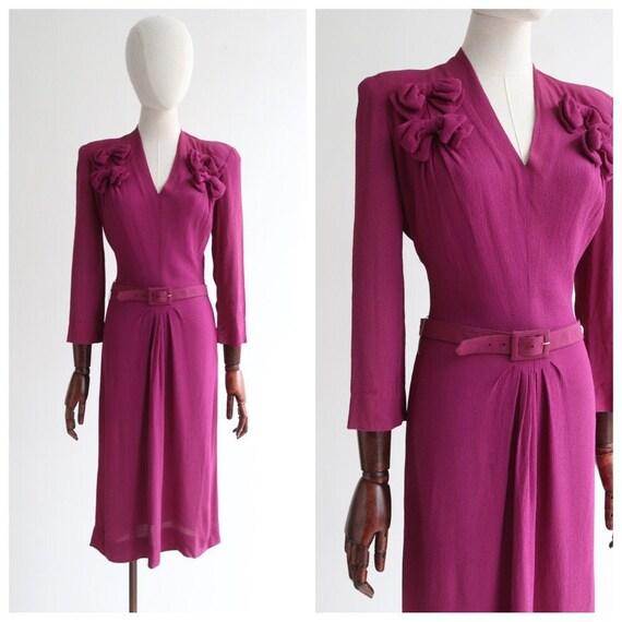 Vintage 1940's dress vintage 1940's plum crepe sil