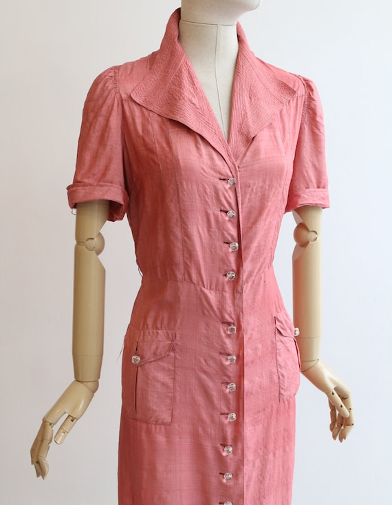 Vintage 1940's dress vintage 1940's blush pink si… - image 6