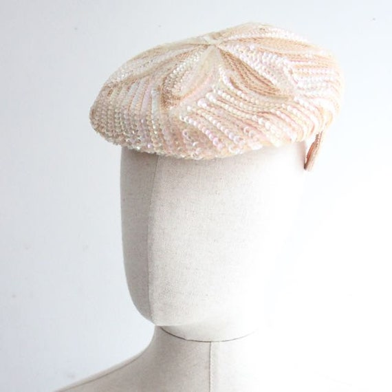 Vintage 1950's Hat 1950's sequin perch hat 1950's