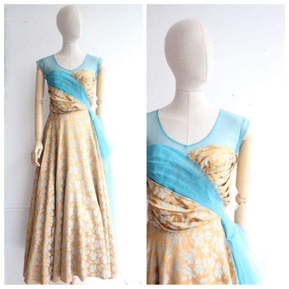 Vintage 1950's  Evening Gown Silk Brocade and Tull