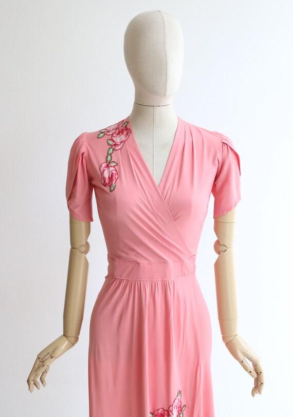 Vintage 1940's dress vintage 1940's pink silk jer… - image 3