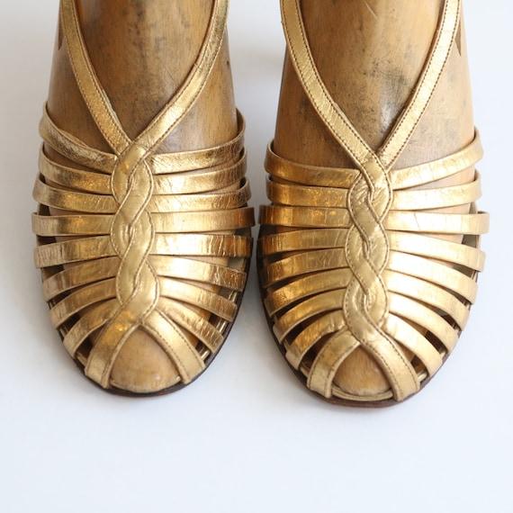 Vintage 1930's Gold heels original 1930's gold sa… - image 8