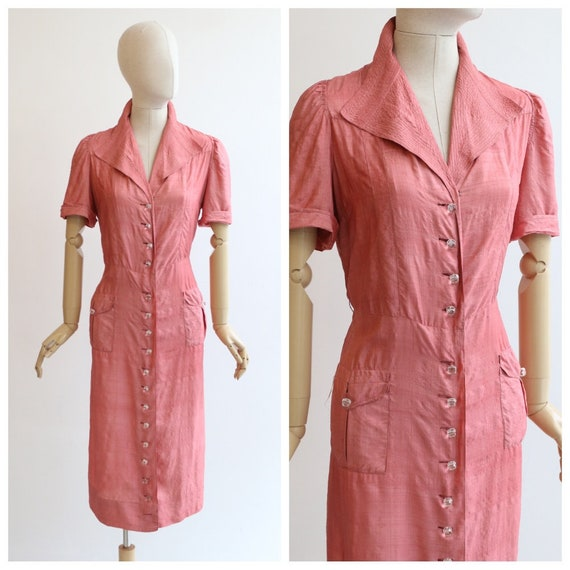 Vintage 1940's dress vintage 1940's blush pink sil