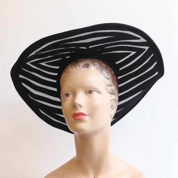 Vintage 1930's hat vintage 1930's navy blue felt c