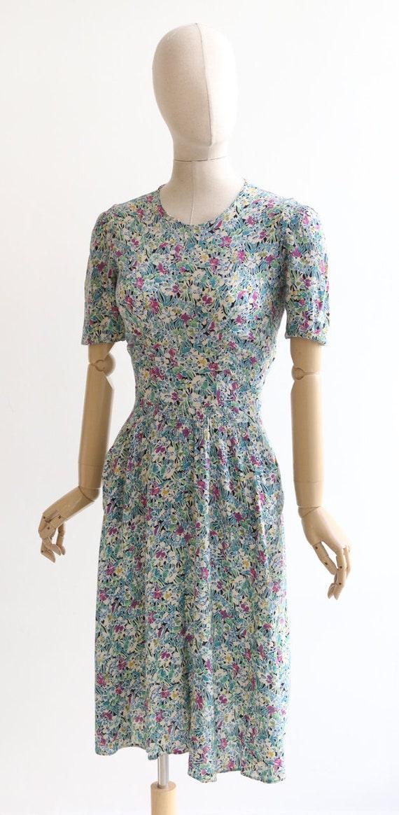 Vintage 1940's dress original 1940's silk dress 1… - image 7