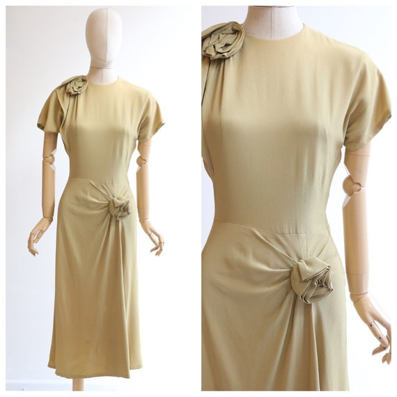 Vintage 1940's dress original 1940's crepe silk dr
