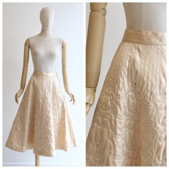 Vintage 1940's skirt vintage 1940's champagne sati
