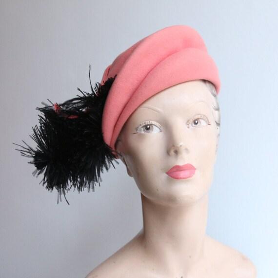Vintage 1940's hat vintage 1940's coral felt hat o