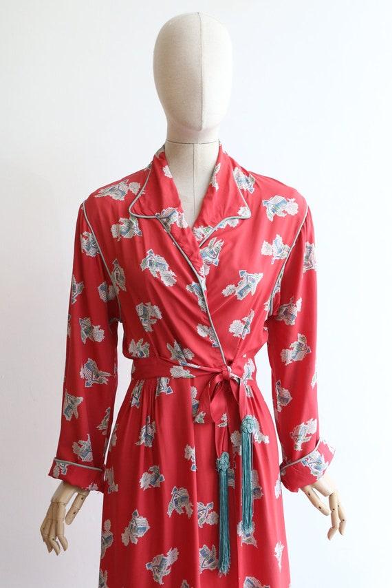 Vintage 1940's housecoat original 1940's coral pi… - image 3
