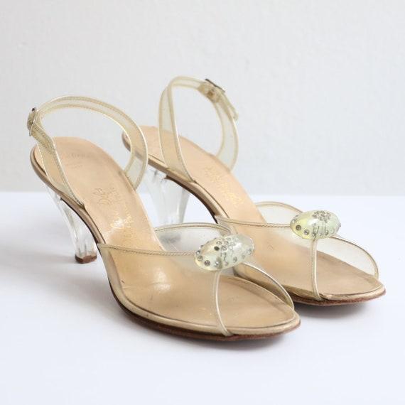 1950's clear lucite open toe peep toe slingback he