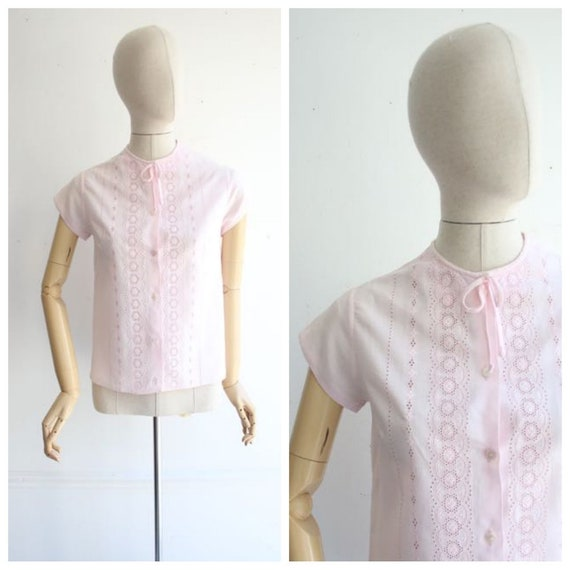 Vintage 1950's blouse 1950's baby pink shirt 1950'