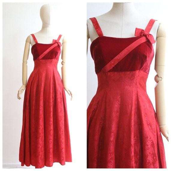 vintage 1950's evening dress vintage 1950's red ev