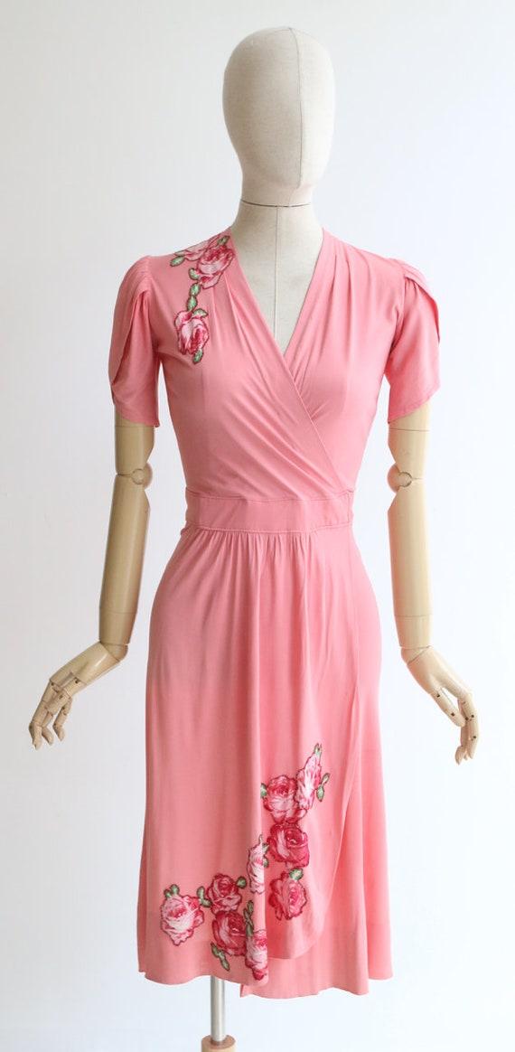 Vintage 1940's dress vintage 1940's pink silk jer… - image 2