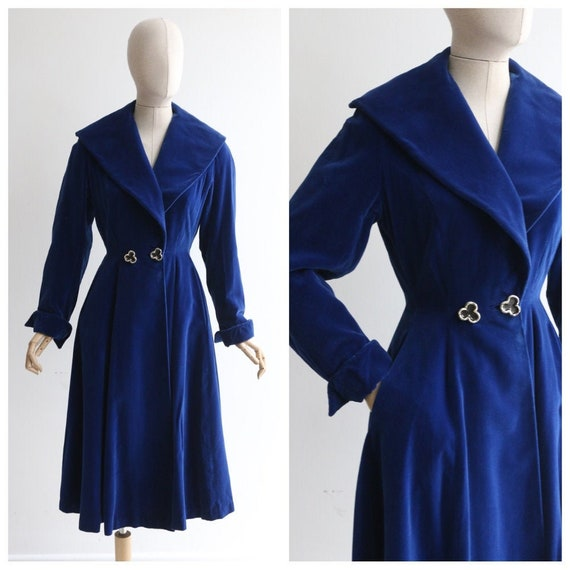 vintage 1950's velvet coat vintage 1950's blue vel