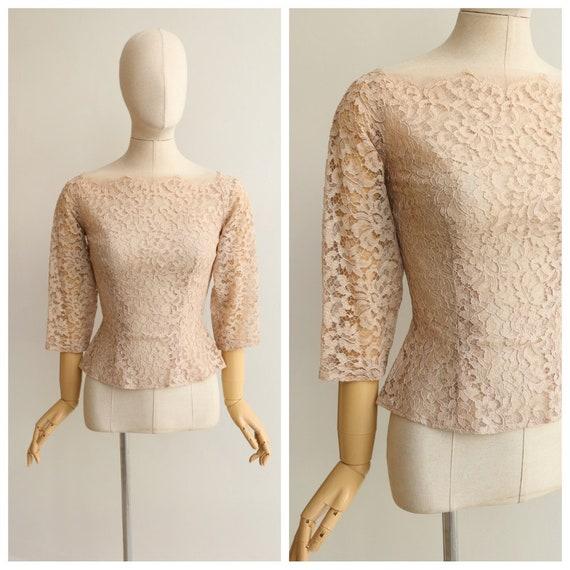 Vintage 1950's lace blouse vintage 1950's blouse o