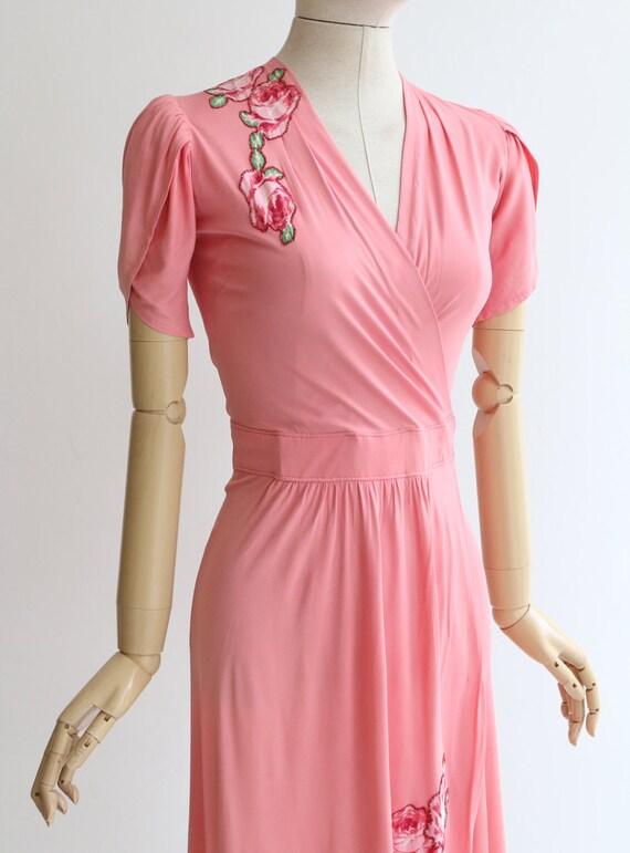 Vintage 1940's dress vintage 1940's pink silk jer… - image 7