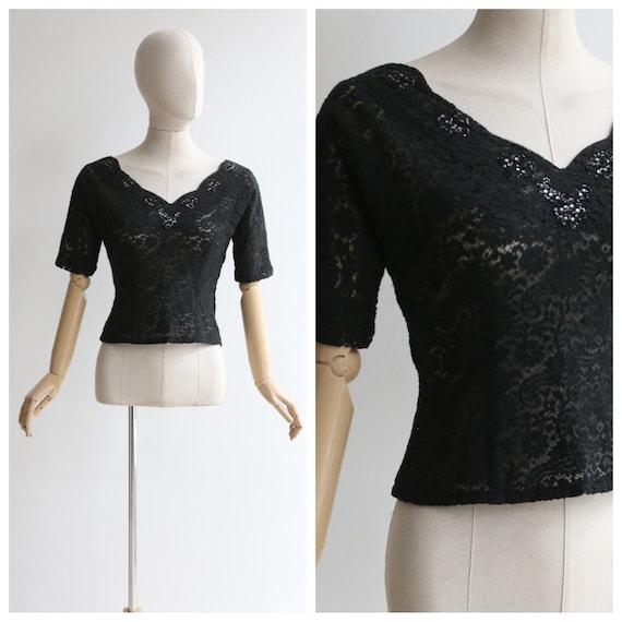 Vintage 1950's blouse vintage 1950's black lace bl