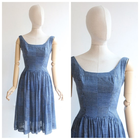 Vintage 1950's dress original 1950's blue check pr