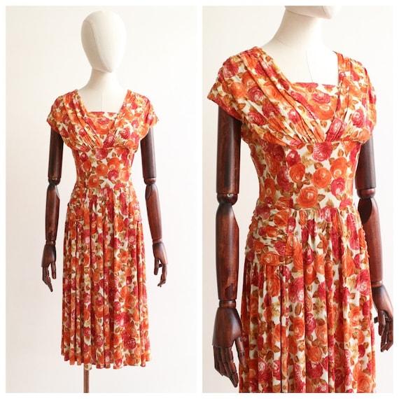 Vintage 1950's dress vintage 1950's silk jersey fl