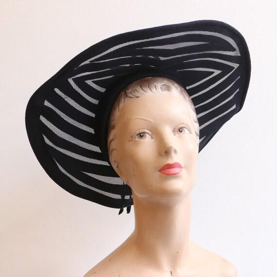 Vintage 1930's hat vintage 1930's navy blue felt … - image 2