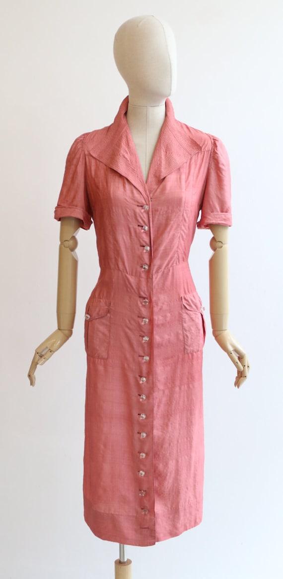 Vintage 1940's dress vintage 1940's blush pink si… - image 2