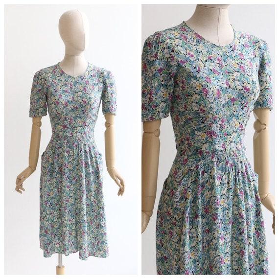 Vintage 1940's dress original 1940's silk dress 19