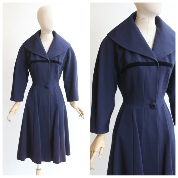 Vintage 1950's dress coat vintage 1950's navy blue