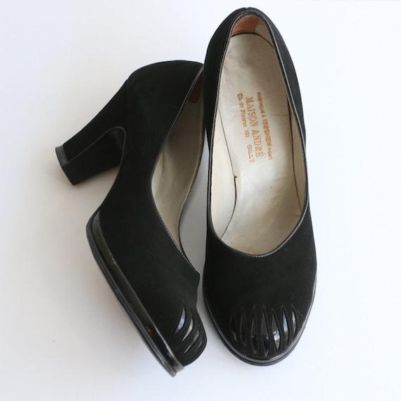 Vintage 1940's black suede shoes vintage 1940's bl