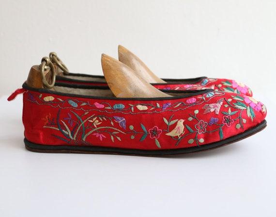 Vintage 1930's slippers vintage 1930's silk embro… - image 6