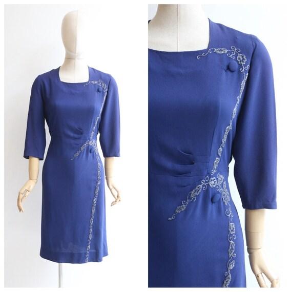 Vintage 1940's dress original 1940's blue dress 19