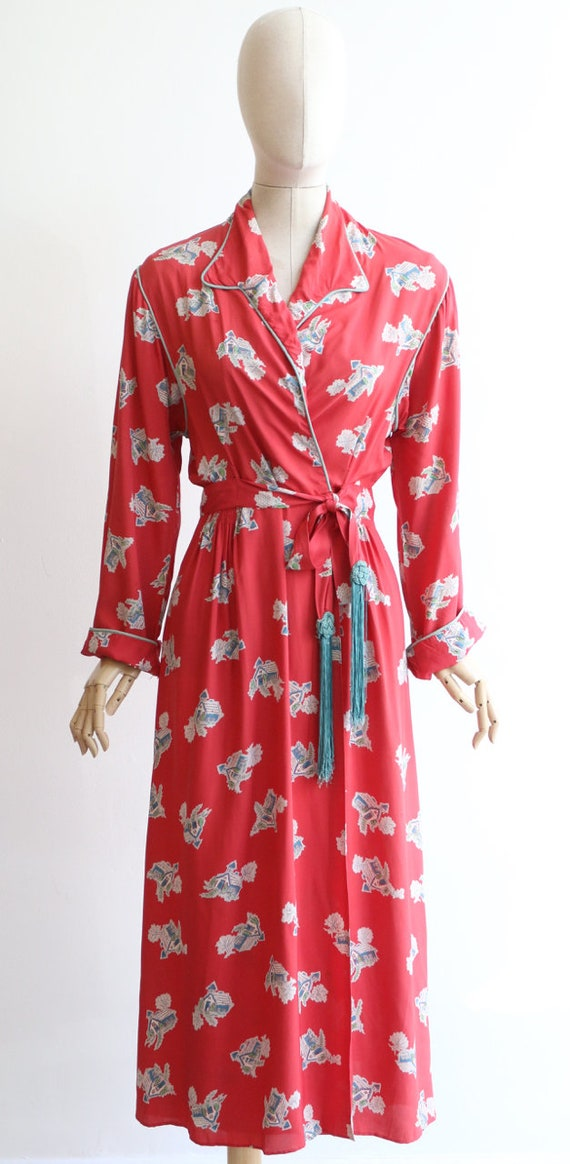 Vintage 1940's housecoat original 1940's coral pi… - image 2