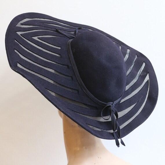 Vintage 1930's hat vintage 1930's navy blue felt … - image 5