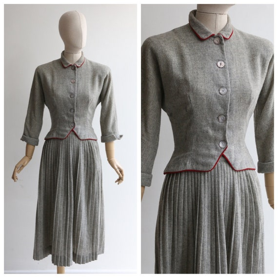 Vintage 1940's set vintage 1940's grey wool skirt