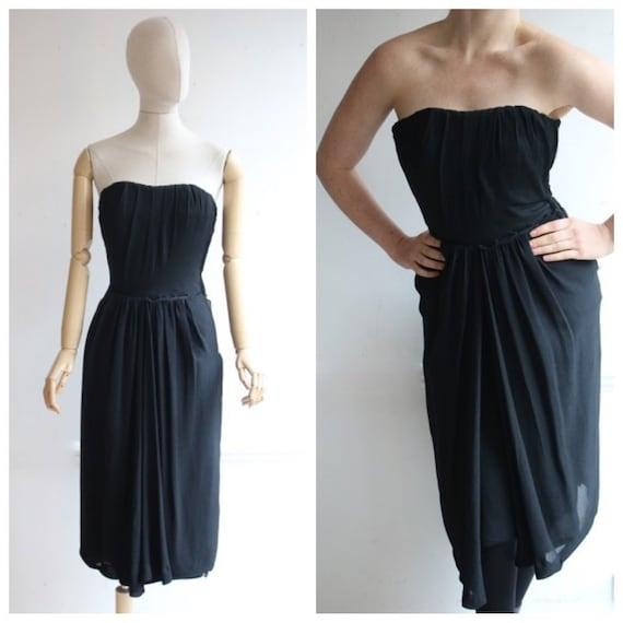 Vintage 1950's dress 1950's black dress 1950's wig