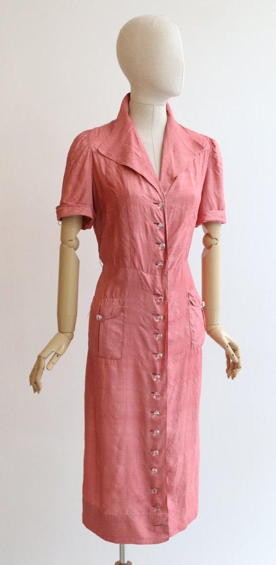 Vintage 1940's dress vintage 1940's blush pink si… - image 5